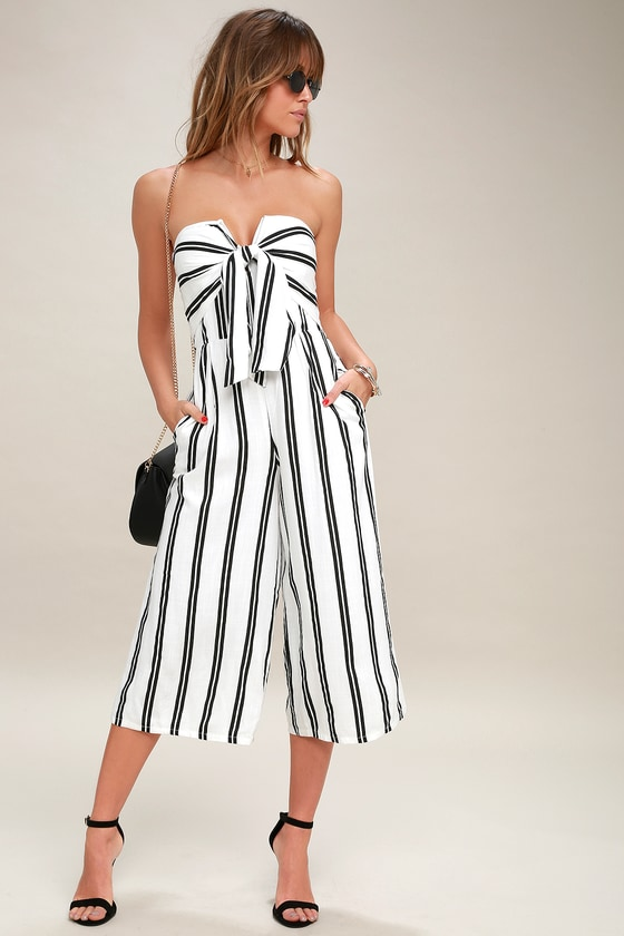 6853ed483dab Chic Black and White Striped Jumpsuit - Wide-Leg Jumpsuit
