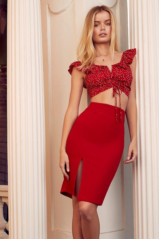 a5f4cba15 Chic Red Pencil Skirt - Midi Skirt - Bodycon Skirt