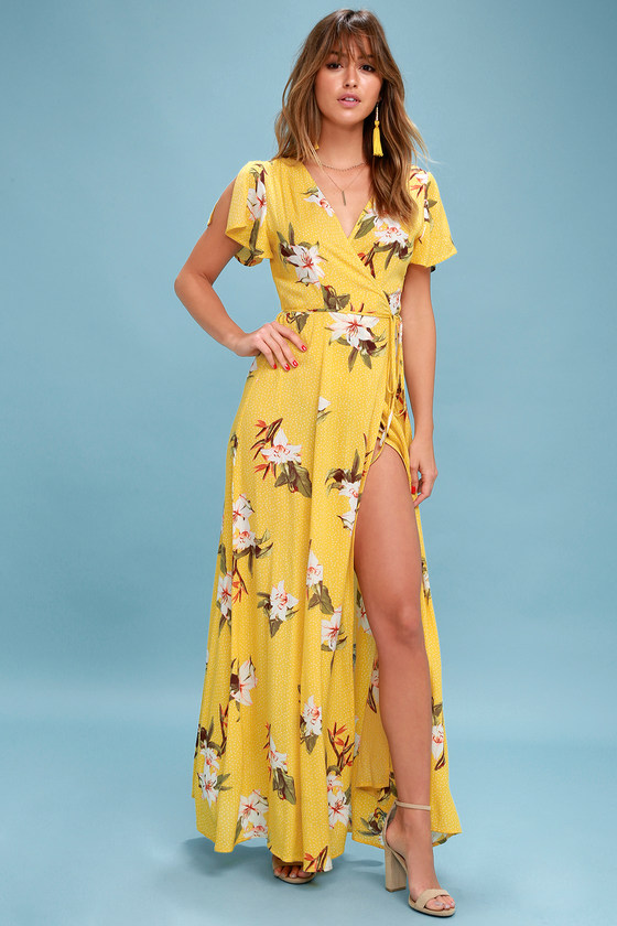 a3c0afb5408 Lovely Yellow Tropical Print Dress - Wrap Dress - Maxi Dress