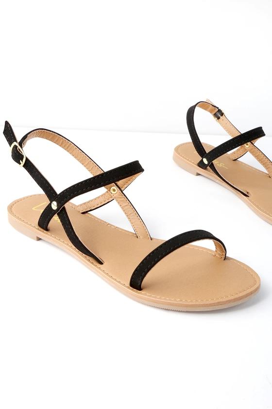 094edffa20 Cute Flat Sandals - Black Nubuck Sandals - Vegan Sandals
