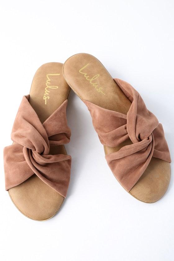 57dc73a811e5 Cute Camel Sandals - Vegan Leather Sandals - Slide Sandals