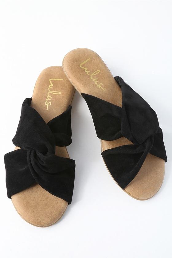 cute black sandals vegan leather sandals slide sandals