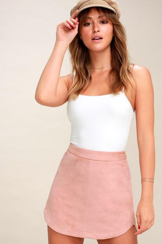 Annette Blush Pink Suede Mini Skirt