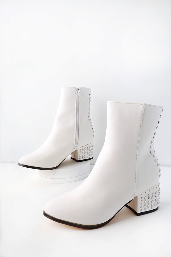 e71f97151 Chic Studded Boots - White Mid Calf Boots - Flat Stud Boots