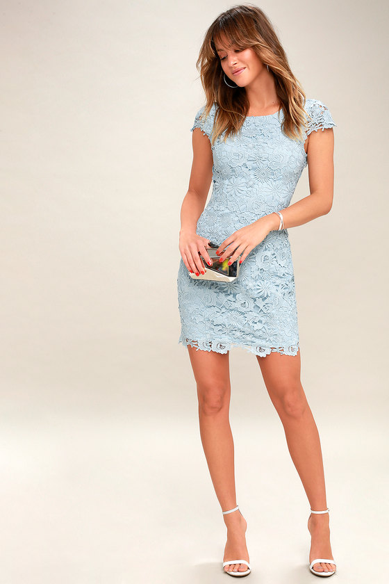 9bf1c04aad Chic Light Blue Lace Dress - Backless Lace Dress