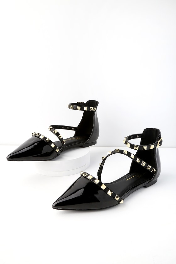 Chic Black Patent Flats - Studded Flats - Pointed Toe Flats 3428dd62a