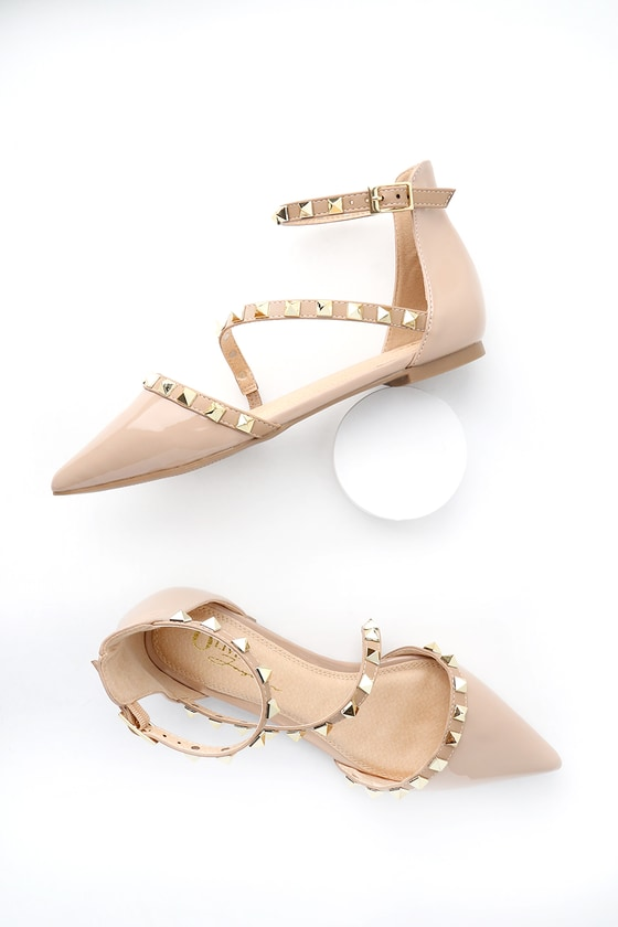 2b03a59cebf8 Chic Nude Patent Flats - Studded Flats - Pointed Toe Flats