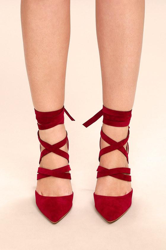 b727f170e Chic Burgundy Heels - Vegan Suede Heels - Lace-Up Heels