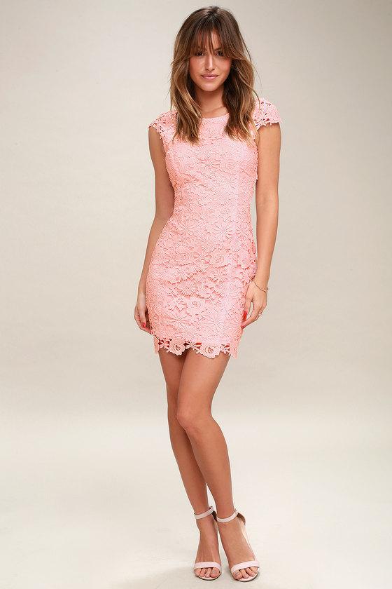 570e7a0ff7c Chic Blush Pink Lace Dress - Backless Lace Dress