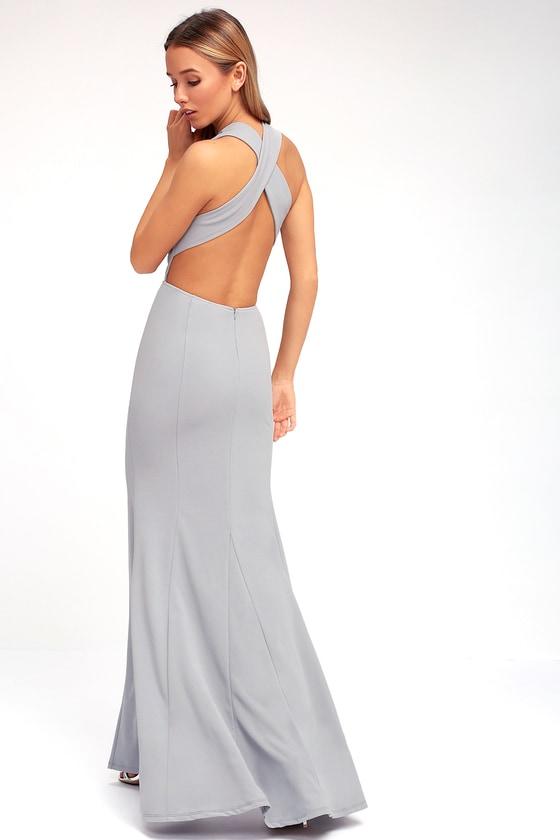 230c34bc90 Elegant Grey Dress - Maxi Dress - Open Back Maxi Dress