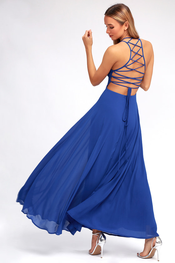 Strappy To Be Here Royal Blue Maxi Dress by Lulus