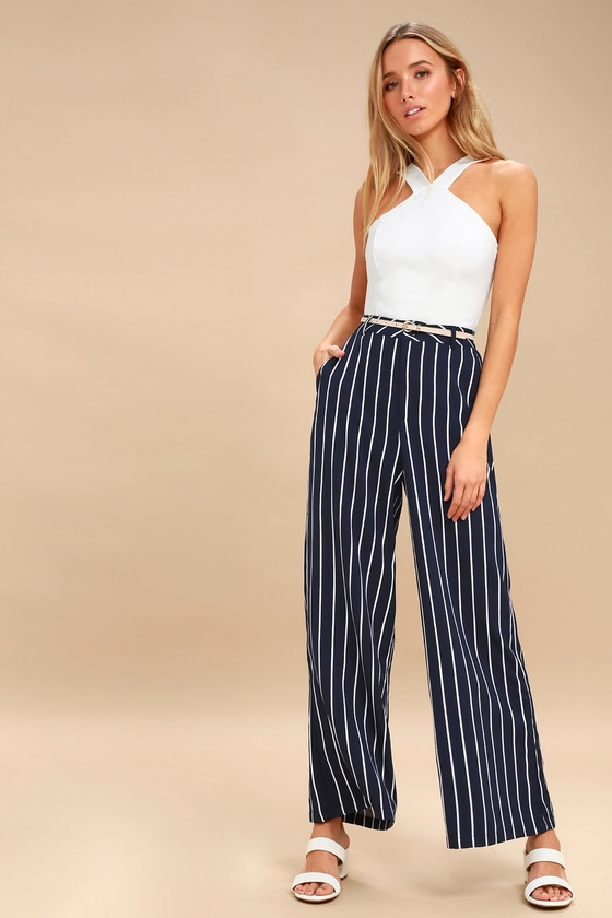 f8f4b06a77a0 PPLA Pants - Wide-Leg Pants - Navy Blue Striped Pants