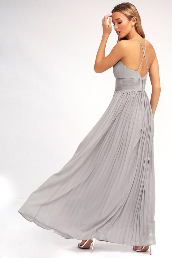 ee88c3e39b Stunning Grey Dress - Pleated Maxi Dress - Grey Gown