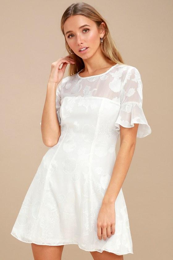dbde977b59f Stunning White Dress - Seashell Print Dress - Flounce Dress
