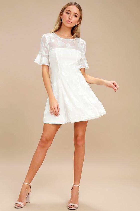 7cf5b0e95a47b Stunning White Dress - Seashell Print Dress - Flounce Dress