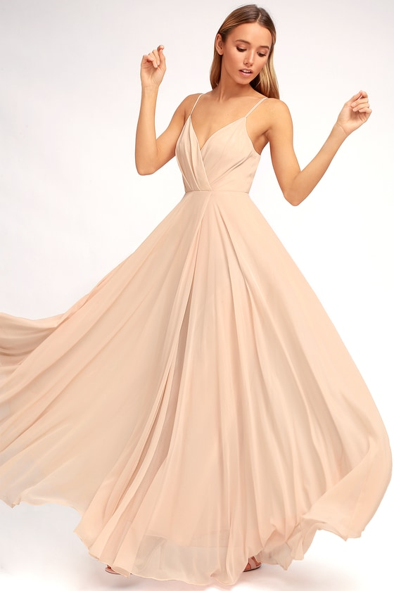 Lovely blush pink dress maxi dress gown bridesmaid for Simple cream colored wedding dresses