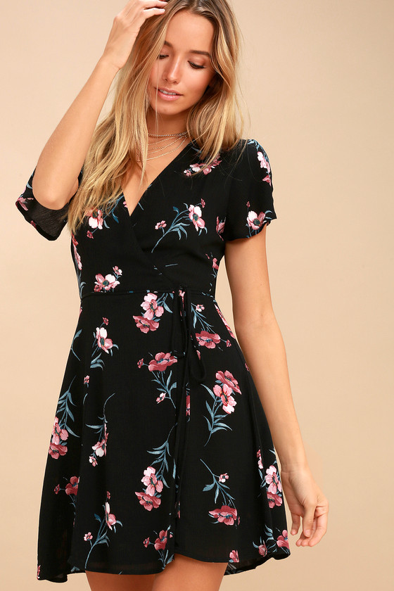 Cute Floral Dress Pink And Black Dress Wrap Dress