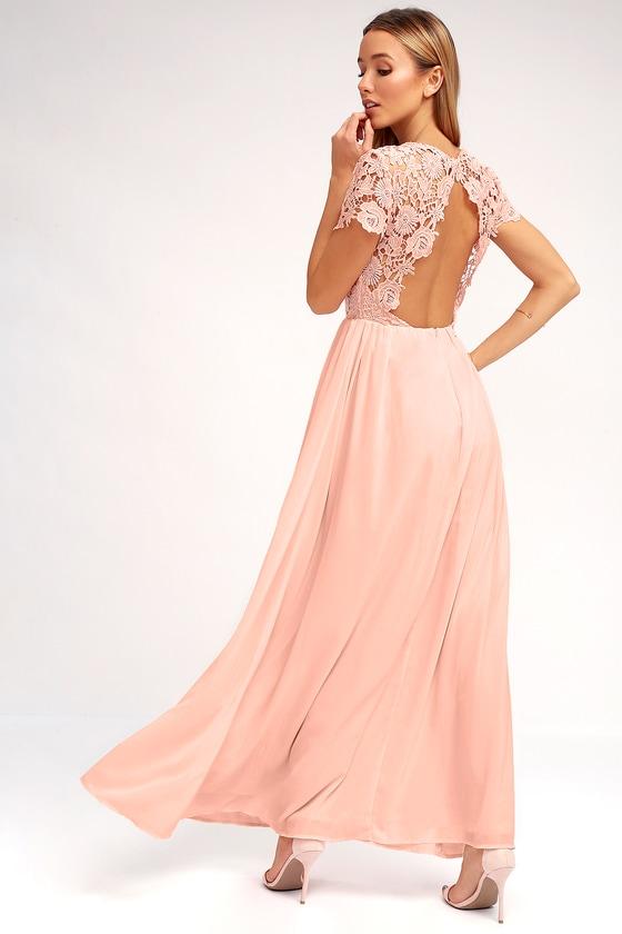 15f546d8e7f4 Lovely Blush Pink Dress - Lace Dress - backless Maxi Dress