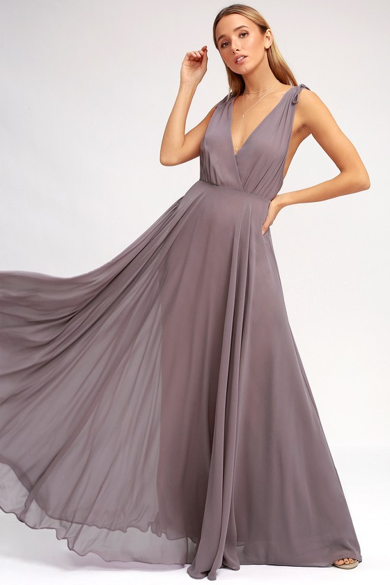 7325bf4d349 Lovely Dusty Purple Maxi Dress - Backless Maxi Dress - Pink Gown
