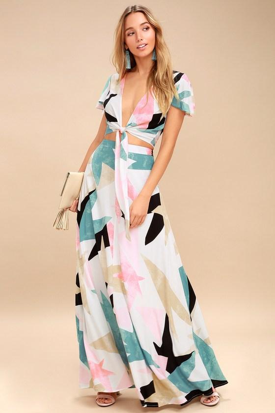 d91046307 Cute White Print Dress - Two-Piece Dress - Maxi Dress
