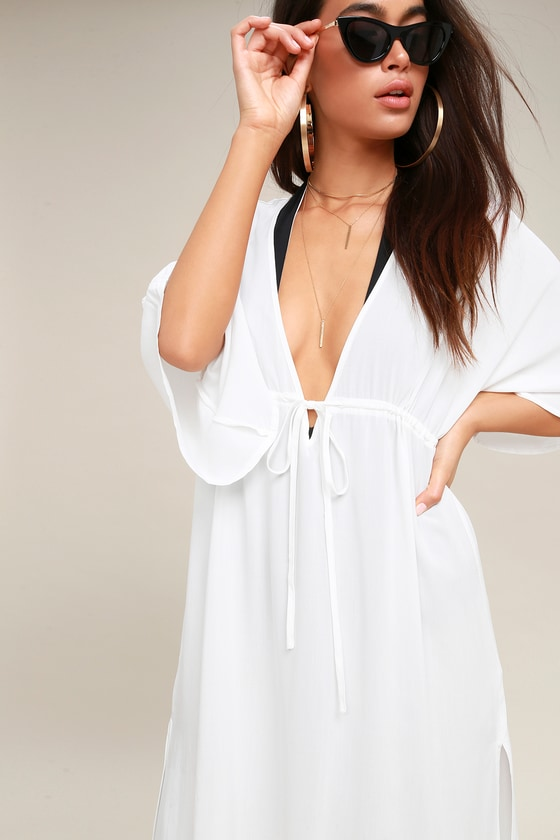 2af8a669923898 Cute Swimsuit Cover-Up - White Maxi Cover-Up