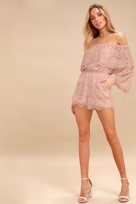 eb01847b353e BB Dakota Kennedy - Mauve Pink Lace Romper - OTS Romper