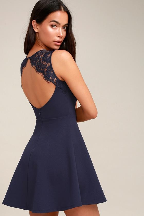 f7ad71a795 Navy Blue Dress - Lace Skater Dress - Backless Skater Dress