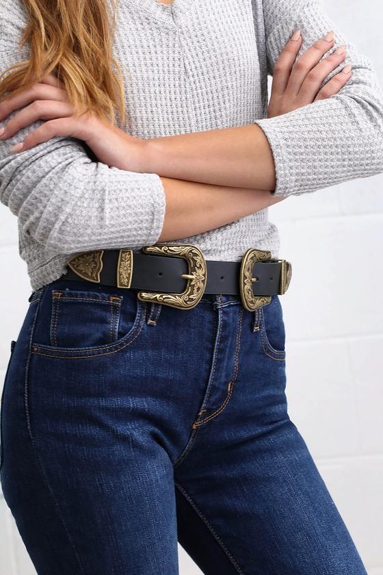 45e549f84867e Trendy Black and Gold Double Buckle Belt -Vegan Leather Belt
