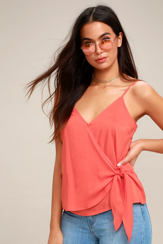 Take Note Coral Pink Wrap Top by Lulu's