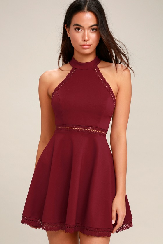 77c8d36f27 Burgundy Dress - Lace Dress - Skater Dress - Halter Dress