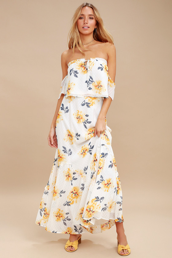 f18f0c6bafb Cute White Dress - Floral Print Maxi Dress - Two-Piece Dress
