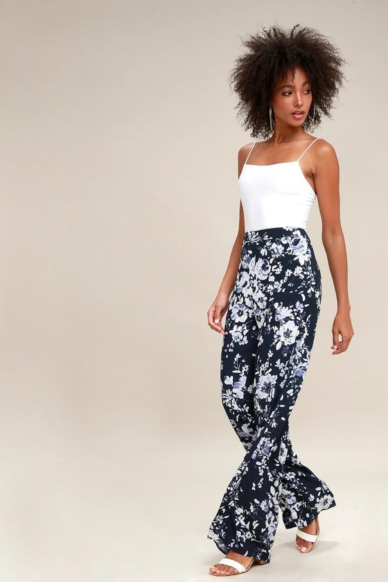 Auckland Navy Blue Floral Print Wide-Leg Pants