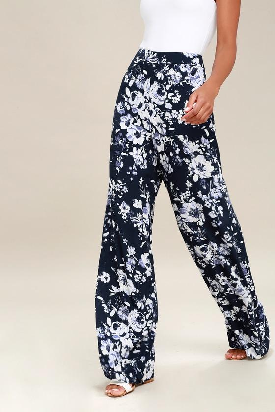 8e5a7a3a1be2 Lovely Navy Blue Pants - Floral Print Pants - Wide-Leg Pants