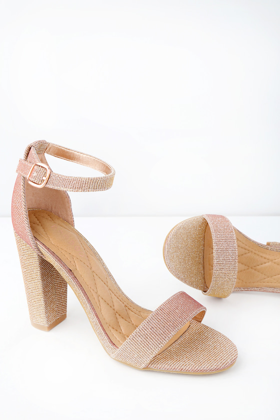 30fe483ad559 Stunning Glitter Heels - Rose Gold Ankle Strap Heels