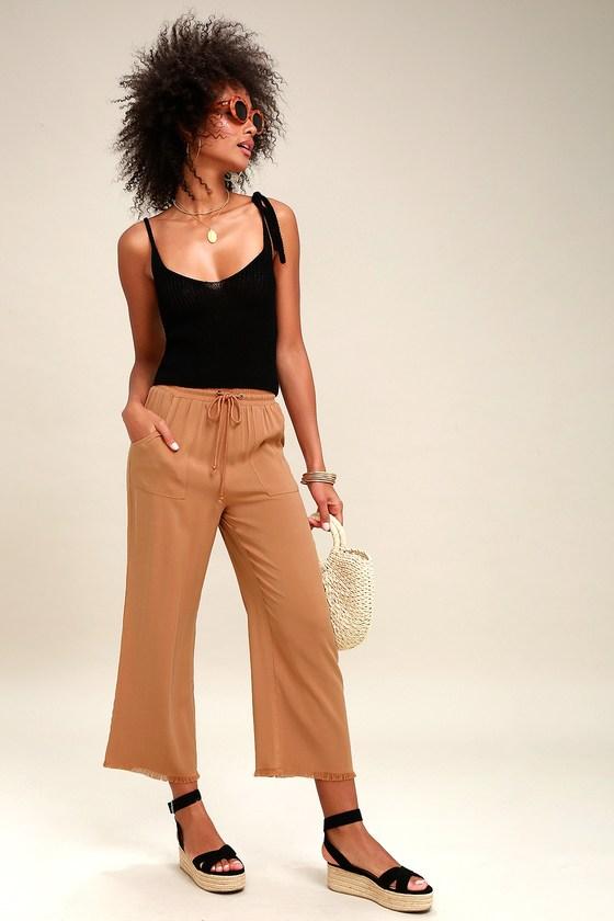 066b17f26a Cute Light Brown Pants - Wide-Leg Pants - Cropped Pants