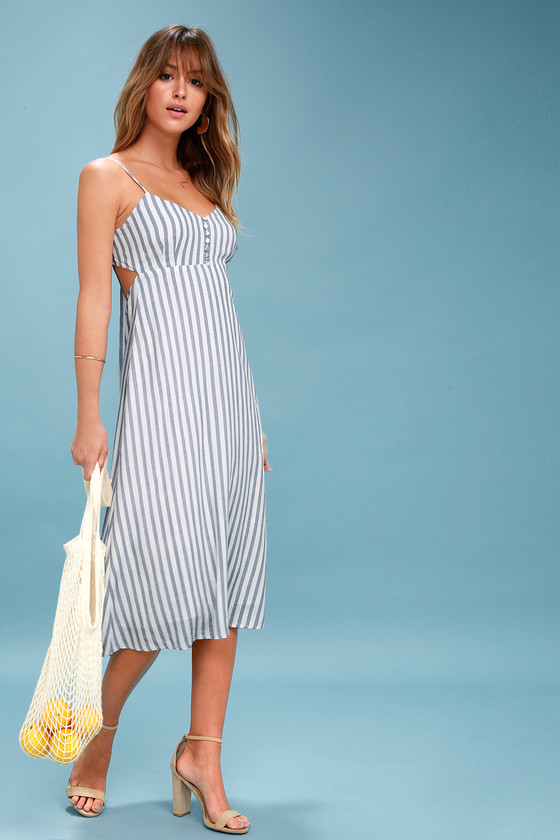 8996455567e4 Blue and White Striped Dress - Backless Dress - Midi Dress