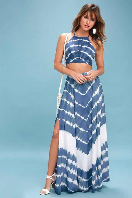 bf5cc785300 Boho Blue and White Tie-Dye Dress - Two-Piece Maxi Dress