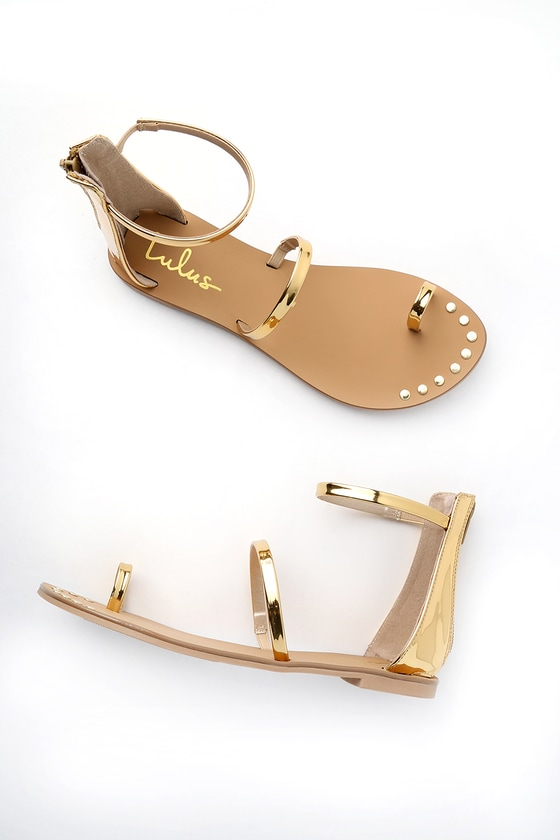 7a8f9945f3c8c8 Gold Sandals - Flat Sandals - Ankle Strap Sandals -  20.00