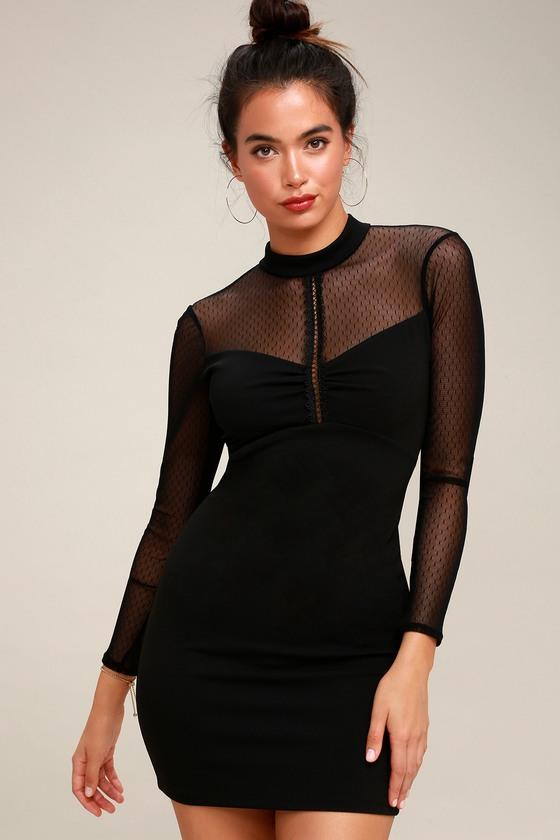 Business black mesh long sleeve bodycon dress graduation