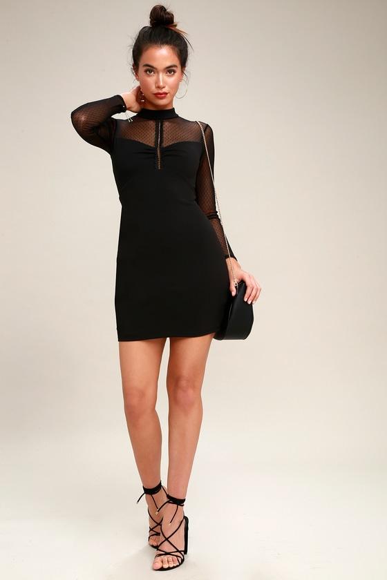 a2175c3466a Sexy Black Dress - Mesh Long Sleeve Dress - Bodycon Dress