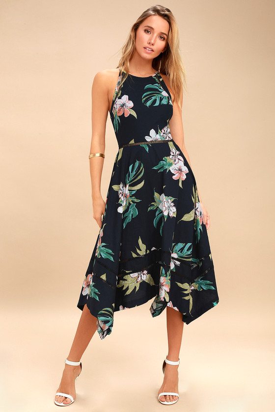 64a2c9dfe42 Lovely Navy Blue Tropical Print Dress - Midi Dress