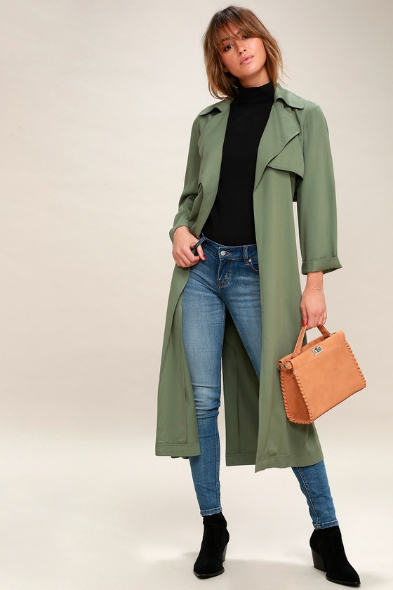 988e669dc Downtown Washed Olive Green Trench Coat