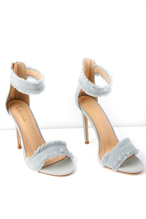 4661cff14526 Sexy Blue Denim Heels - Ankle Strap Heels - Light Blue Heels