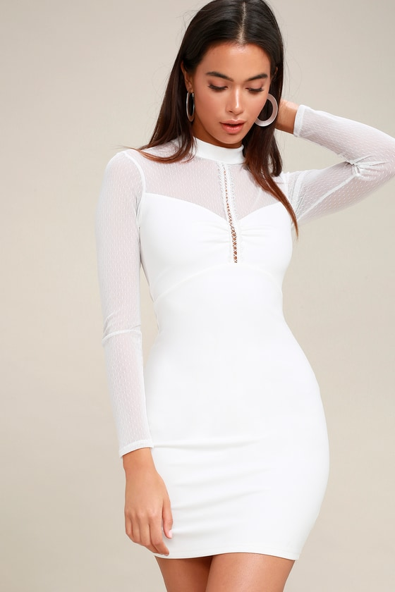 914956c93ad7 Sexy White Dress - Mesh Long Sleeve Dress - Bodycon Dress