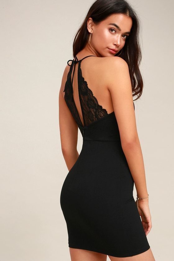 7af2ac1fc51 Sexy Black Dress - Halter Bodycon Dress - Lace Dress - LBD