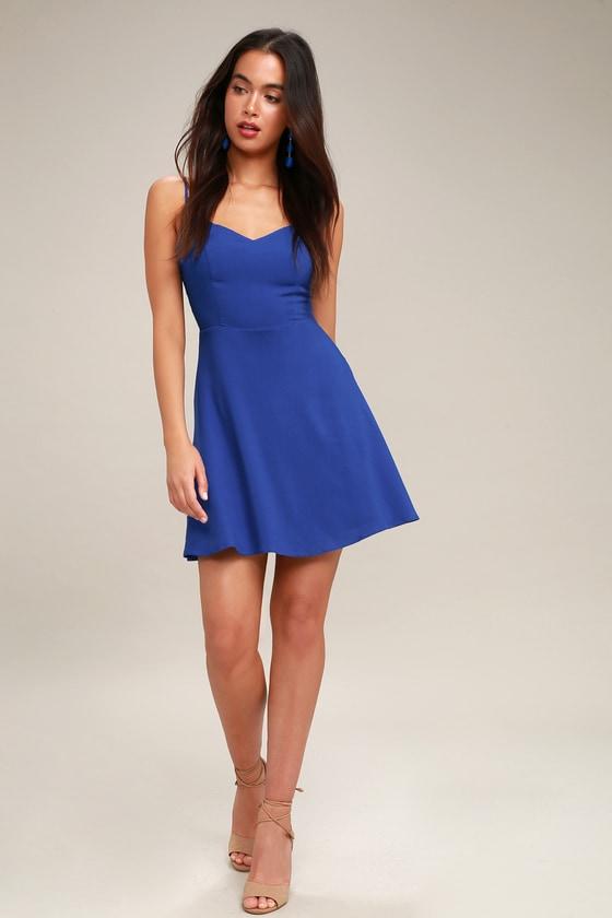 4a37df83da Cute Tie-Back Royal Blue Dress - Backless Skater Dress