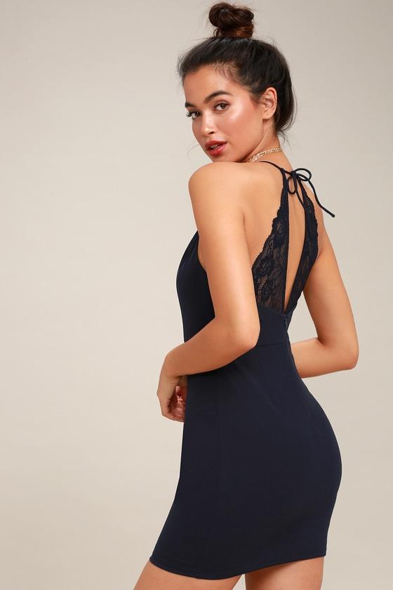 9c6cd1470 Sexy Navy Blue Dress - Halter Bodycon Dress - Lace Dress