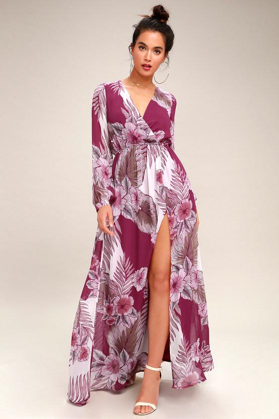 13ee1c5ef3f5b Lovely Magenta Floral Print Dress - Maxi Dress
