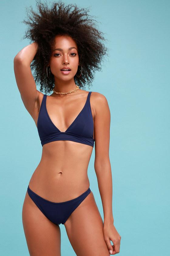 c78101b272352 Cute Navy Blue Bikini - Two-Piece Swimsuit - Triangle Bikini