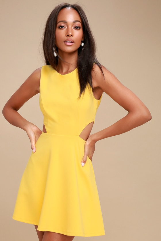 5a64456fedd Chic Yellow Dress - Skater Dress - Cutout Dress